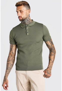 Sage green Muscle Fit Cable Knit Polo