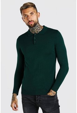 Green Muscle Fit Long Sleeve Knitted Polo