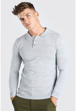 Grey marl grey Muscle Fit Long Sleeve Knitted Polo