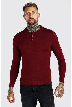 Burgundy red Muscle Fit Long Sleeve Knitted Polo
