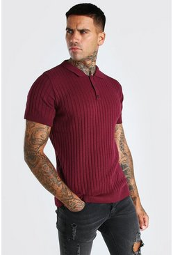 Burgundy red Muscle Fit Ribbed Knitted Polo