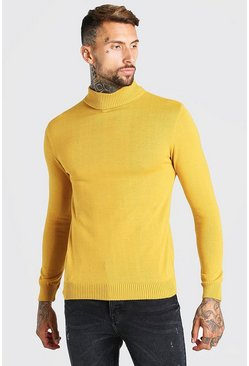 Mustard yellow Regular Fit Roll Neck Jumper