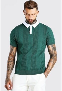 Green Short Sleeve Contrast Knitted Polo