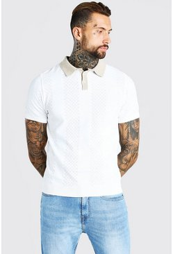 Cream white Short Sleeve Contrast Knitted Polo