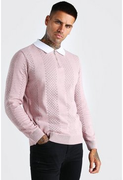 Dusky pink rosa Long Sleeve Half Zip Contrast Knitted Polo