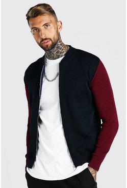 Navy Colour Block Smart Knitted Bomber