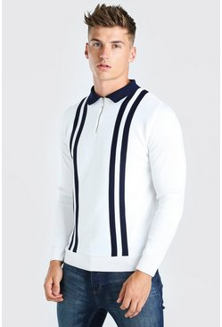 White Long Sleeve Contrast Stripe Knitted Polo