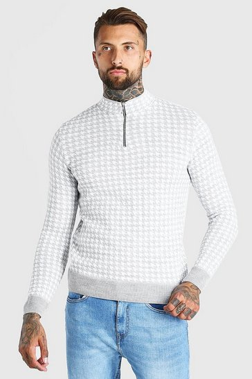 Grey Half Zip Dogtooth Knitted Jumper
