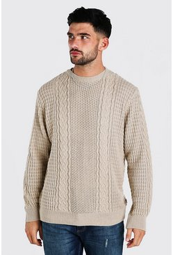Camel beige Cable Knitted Crew Neck Jumper