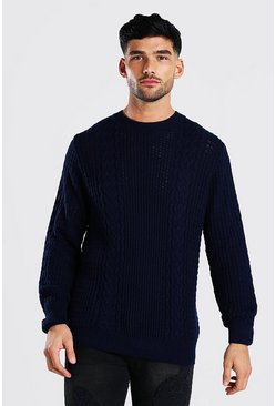 Navy Cable Knitted Crew Neck Jumper