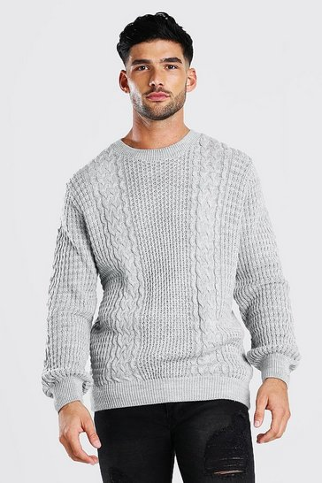 Grey marl grey Cable Knitted Crew Neck Jumper