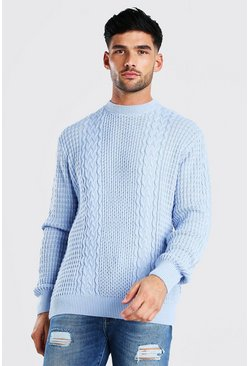 Pale blue blue Cable Knitted Crew Neck Jumper