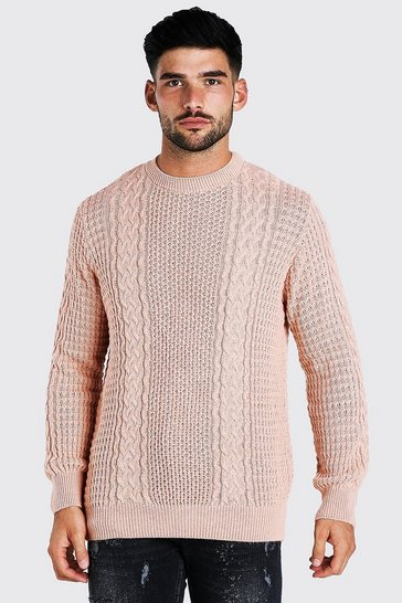 Pale pink pink Cable Knitted Crew Neck Jumper