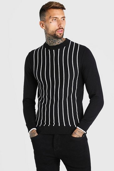 Black Turtle Neck Striped Knitted Jumper