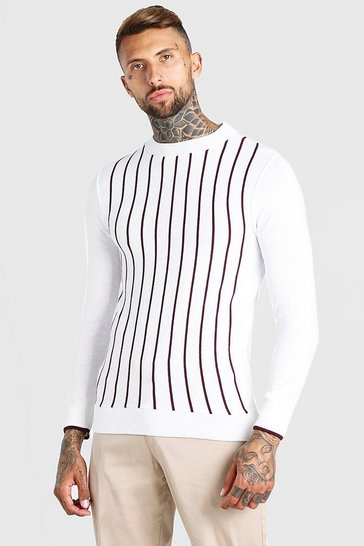 White Turtle Neck Striped Knitted Jumper