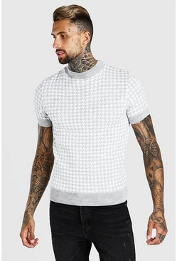 Light grey grey Turtle Neck Dogtooth Knitted T-Shirt