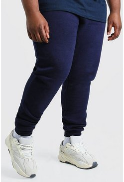 Marineblauw navy Plusmaat Basic skinny fit joggingbroek