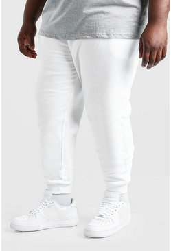 Wit white Plusmaat Basic skinny fit joggingbroek
