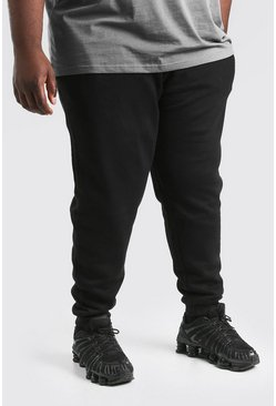 Zwart black MAN Dash skinny fit joggingbroeken in plusmaten