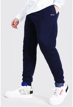 Marineblauw navy MAN Dash skinny fit joggingbroeken in plusmaten