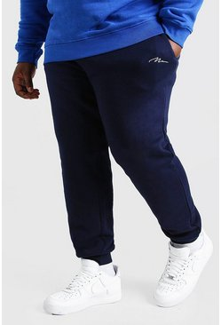Marineblauw navy Plusmaat MAN Dash skinny fit joggingbroek