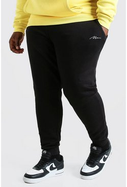Zwart black Plus Man Strakke Joggingbroek Met Tekst