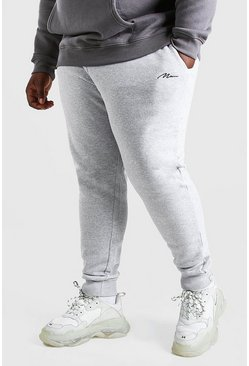 Grey marl grå Big & Tall - Man Script Joggers i slim fit