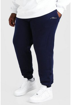 Marineblauw navy Plusmaat MAN Script slim fit joggingbroek