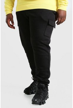 Zwart black Plusmaat basic skinny fit cargojoggingbroek