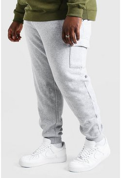 Grijs gemêleerd grey Plusmaat basic skinny fit cargojoggingbroek