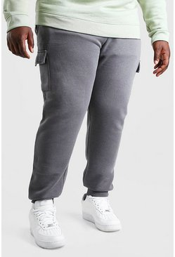 Slate grey Plus Size Skinny Fit Basic Cargo Jogger