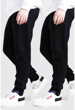 Zwart black Plusmaat 2-pack basic skinny fit joggingbroek