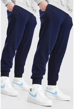 Marineblauw navy Plusmaat 2-pack basic skinny fit joggingbroek