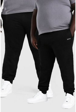 Black Plus Size Man Dash Skinny Fit Joggingbroeken (2 Stuks)