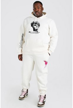 Ecru white Plus Size Statue Graphic Tracksuit