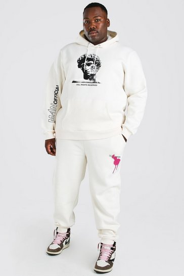 Ecru white Big And Tall Statue Graphic Tracksuit