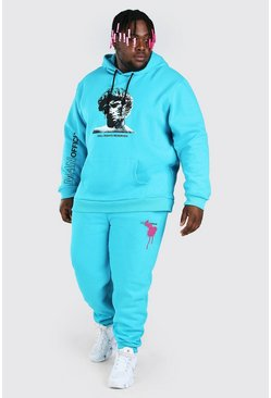 Turquoise blue Plus Size Statue Graphic Tracksuit