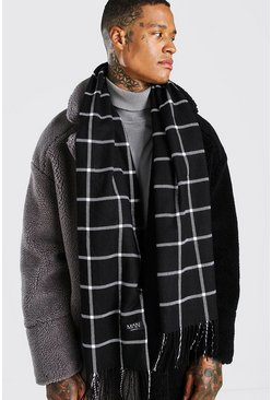 Black Grid Check Scarf
