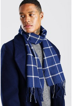 Navy Grid Check Scarf