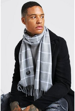 Grey Grid Check Scarf
