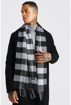 Black Smart Check Scarf