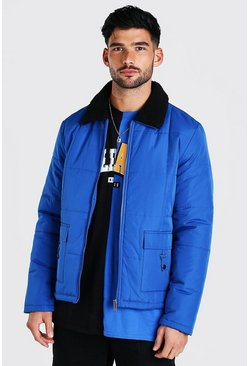Blue Nylon Coach Jacket With Borg Collar