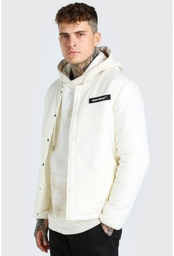 Off white white Collarless Coach Jacket With MAN Rubber Badge