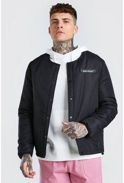 Black Collarless Coach Jacket With MAN Rubber Badge