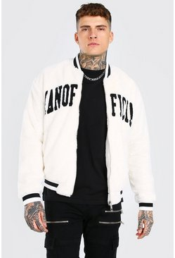 Off white white Man Official Faux Fur Bomber