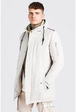 Stone beige Parka Coat With Borg Lined Hood