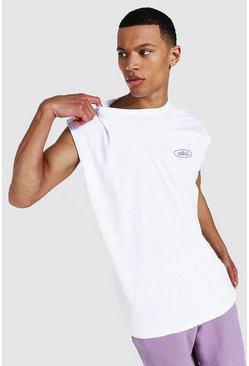 Camiseta de tirantes ancha Worldwide Tall, Blanco