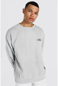 Grey Tall Oversized Official Panelled Sweater