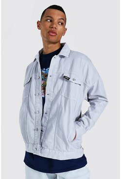 Grey Tall Oversized Official Overdyed Denim Jacket