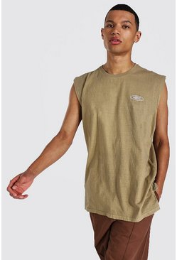 Brown Tall Oversized Worldwide Washed Tank